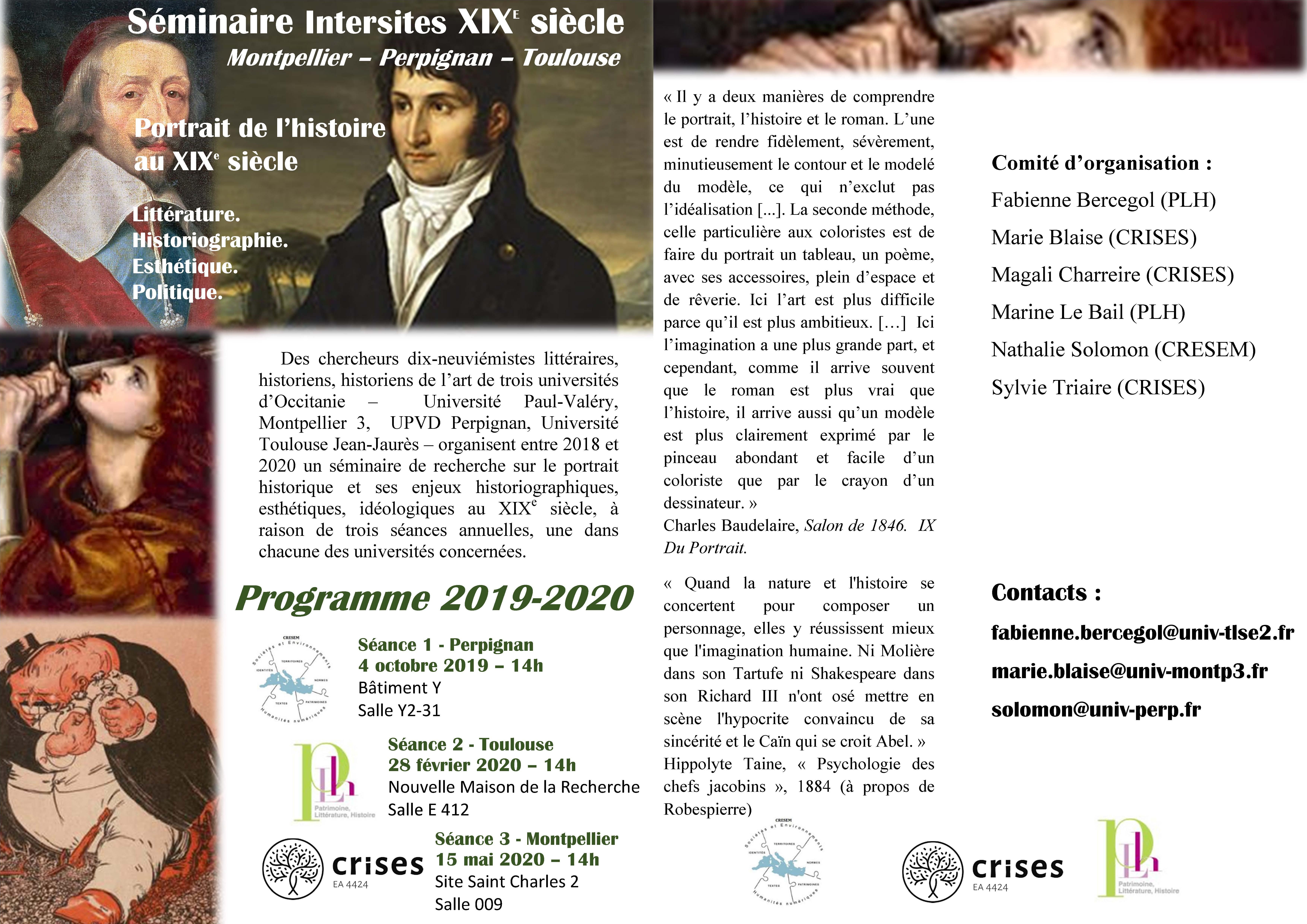 Programme 2019-2020 séminaire Portaits dans l'histoire au XIXe siècle